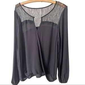 Lace asymmetrical blouse medium black